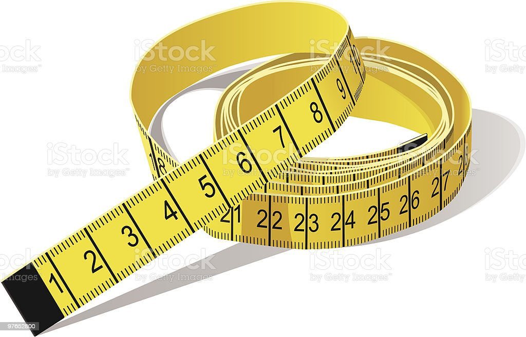 Yellow Tape Measure in centimeters vector art illustration