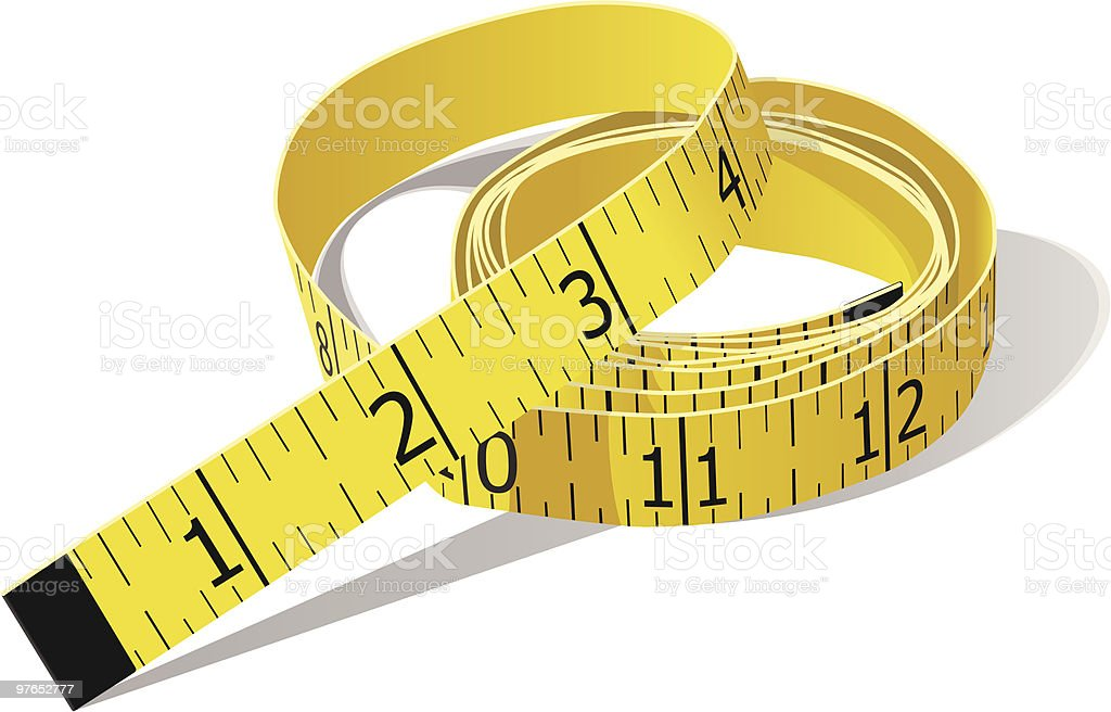 Yellow Tape Measure in Inches vector art illustration