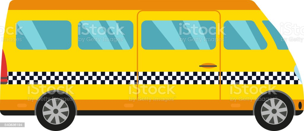 Yellow taxi bus vector illustration. vector art illustration
