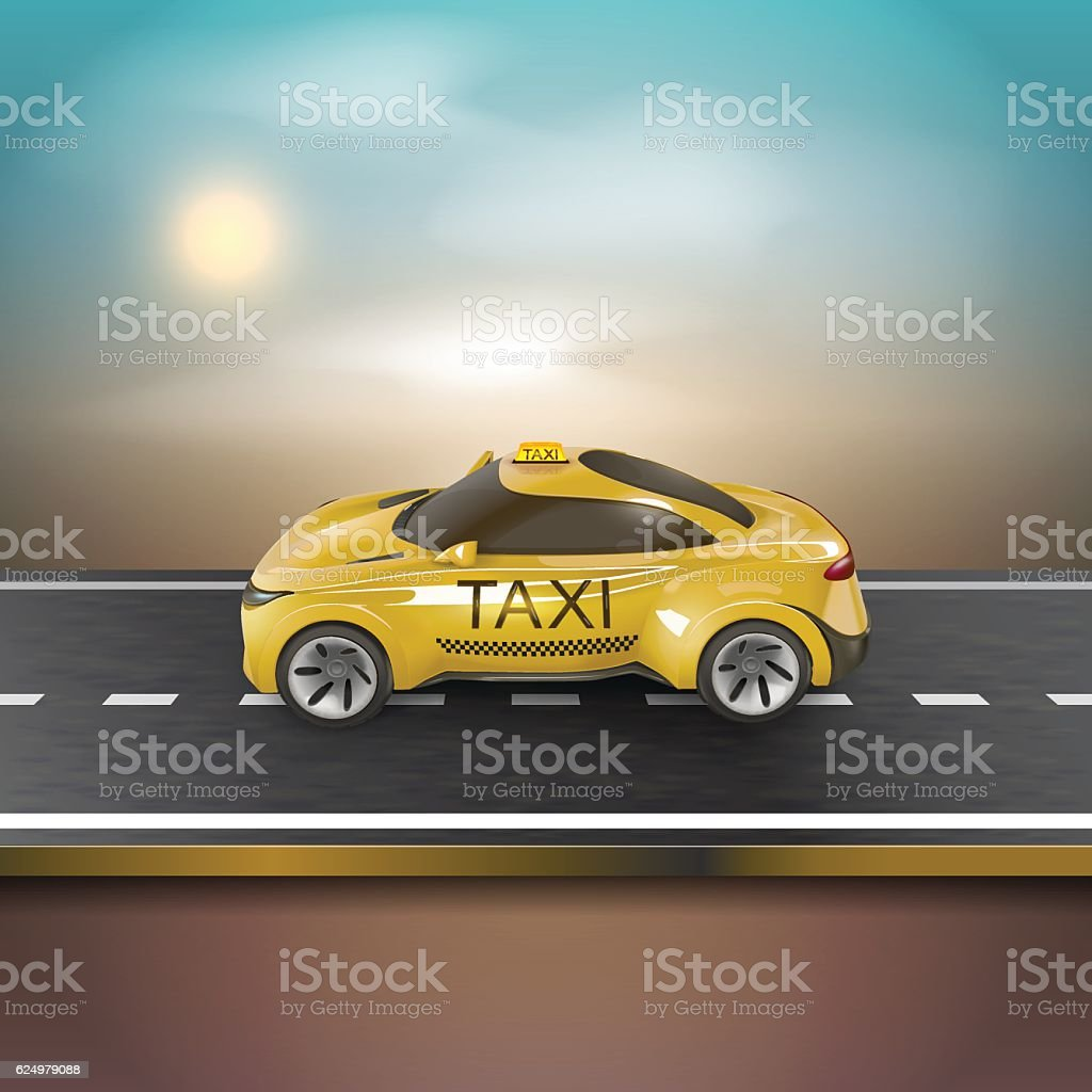 Yellow taxi car on the blurred background. Vector Illustration vector art illustration