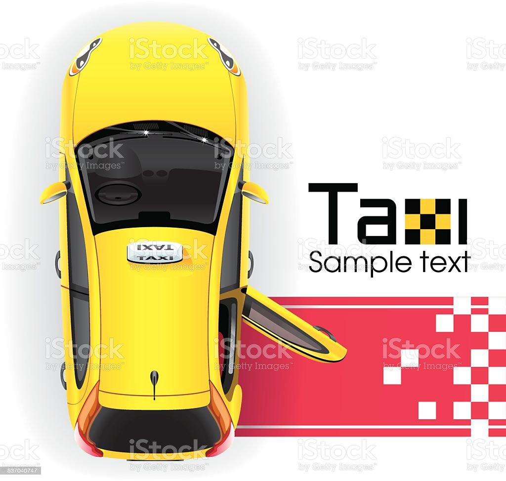 Yellow Taxi on the Red Carpet vector art illustration