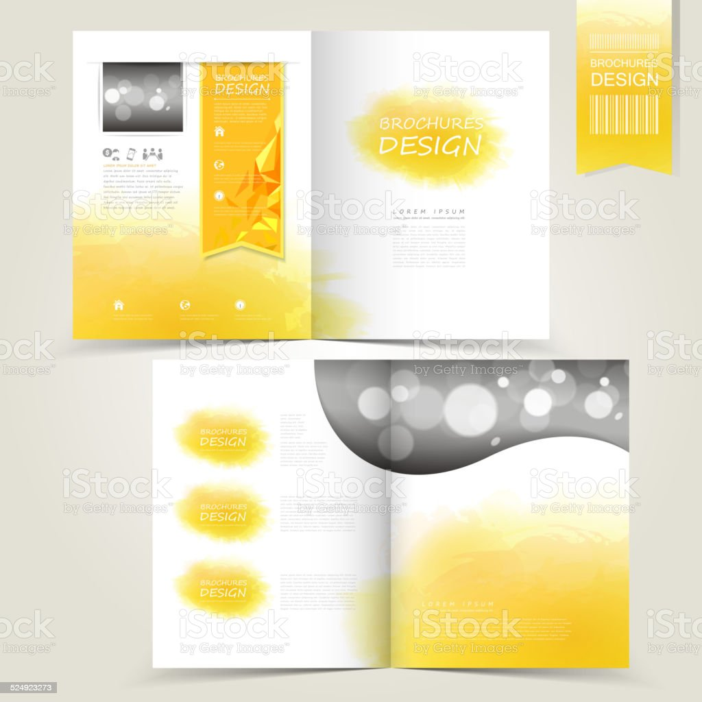 yellow template for advertising brochure with yellow watercolor vector art illustration
