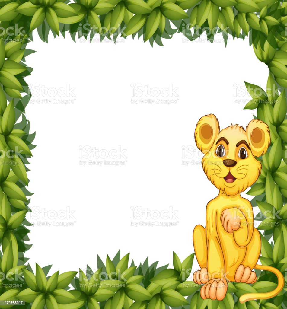 Yellow tiger in a leafy frame royalty-free stock vector art
