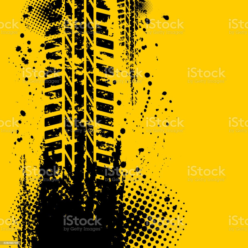 Yellow tire track background vector art illustration