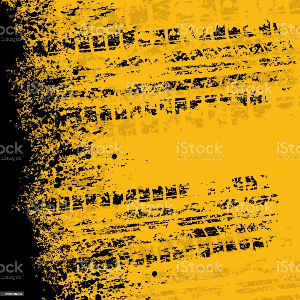 Yellow tire track banner vector art illustration