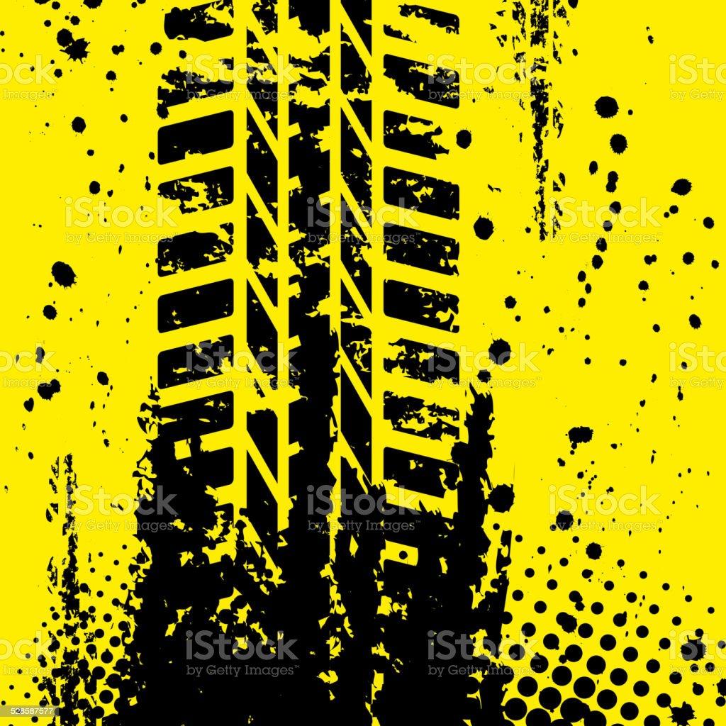 Yellow tire track wallpapper vector art illustration