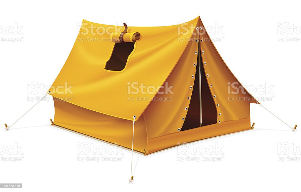 yellow tourist tent for travel and camping vector art illustration