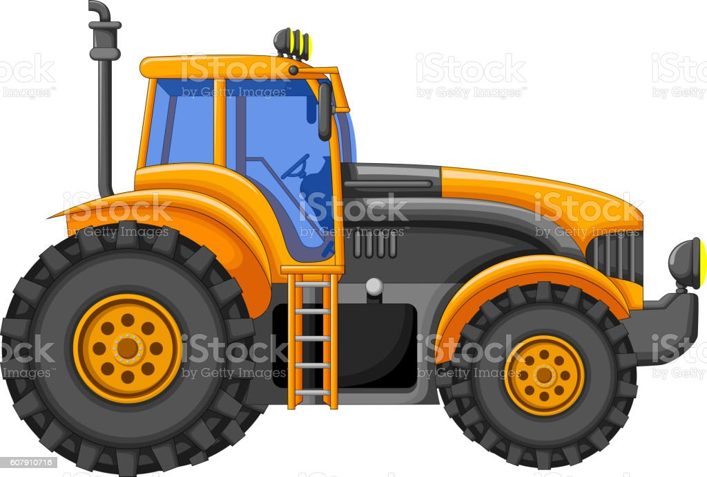yellow tractor cartoon for you design vector art illustration
