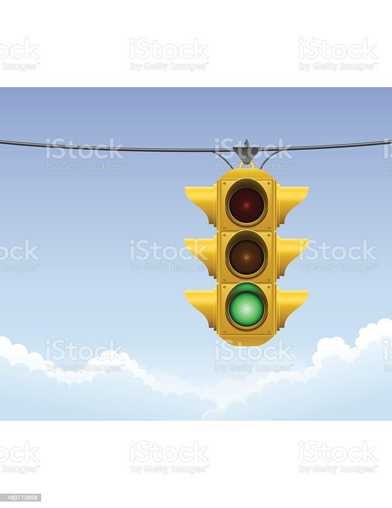 Yellow Traffic Light vector art illustration