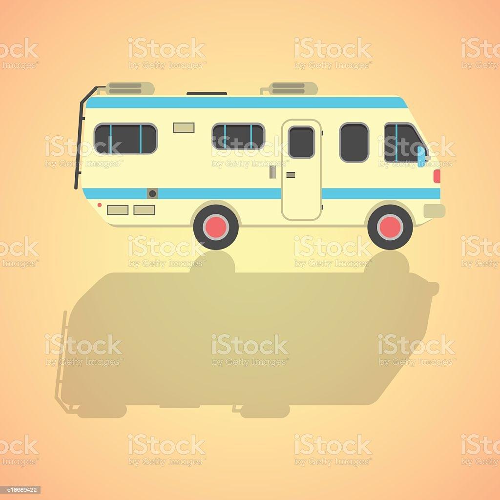 yellow travel camper van with shadow vector art illustration