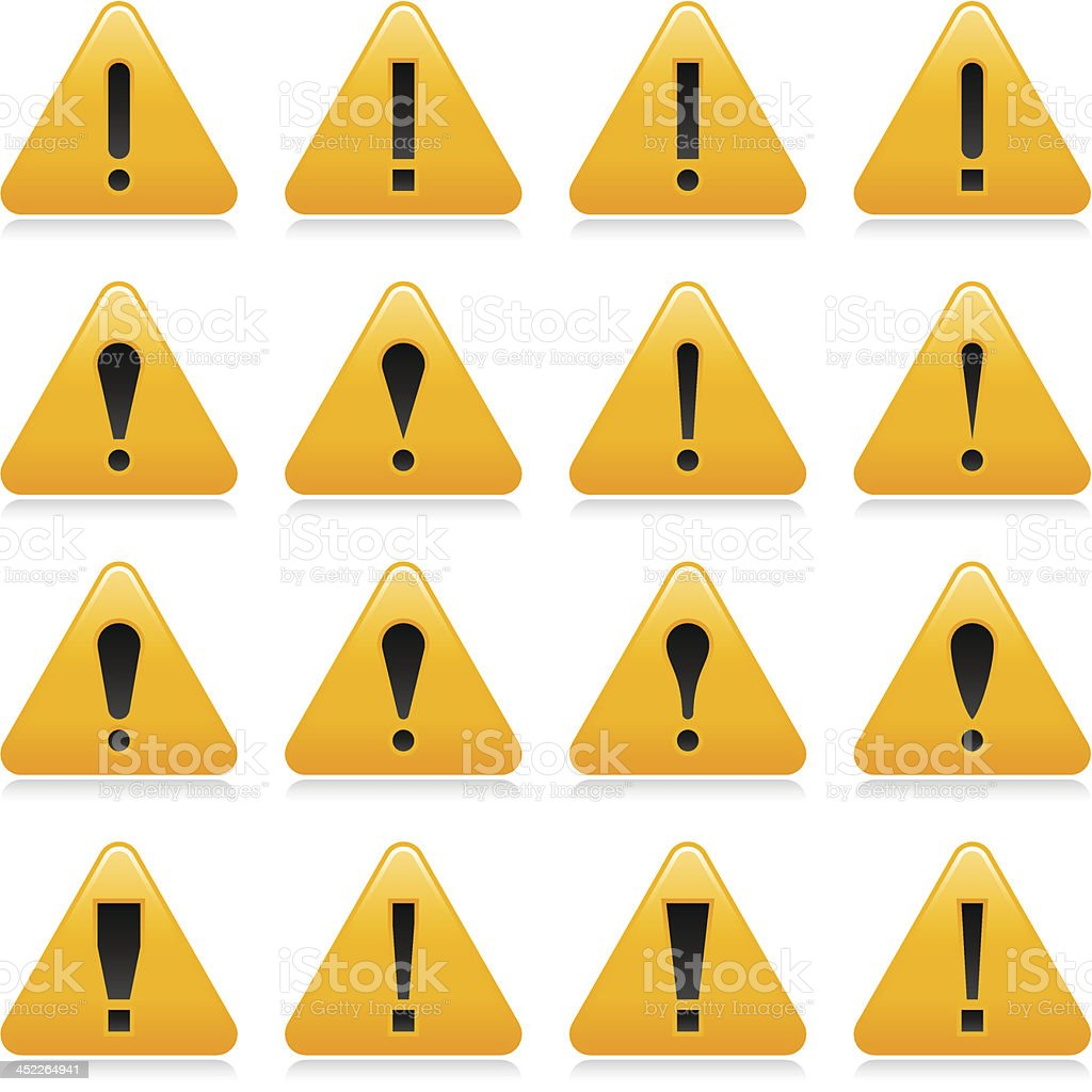 Yellow triangle warning icon exclamation mark sign web button royalty-free stock vector art