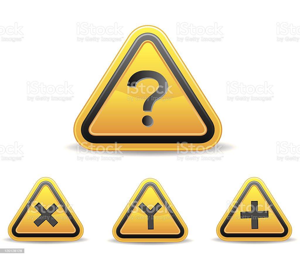 Yellow triangular warning sign royalty-free stock vector art