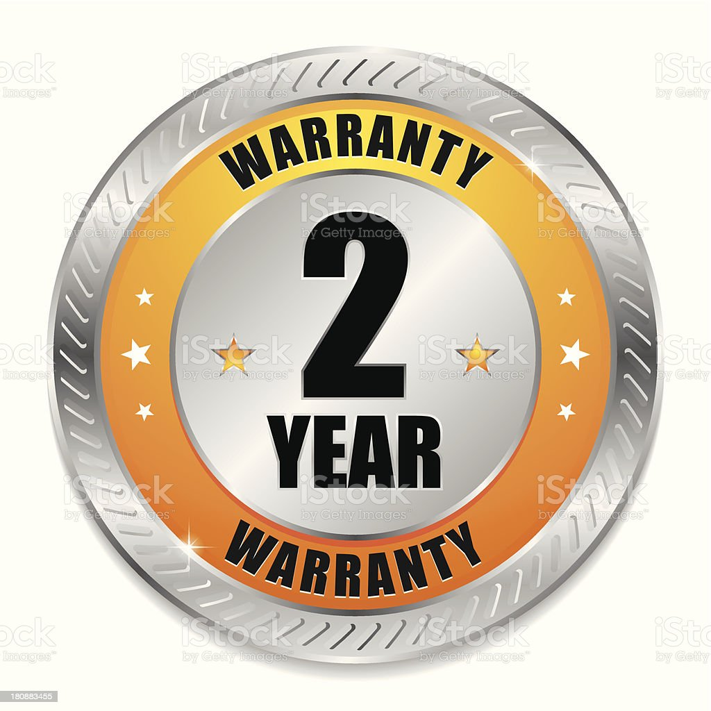 Yellow two year warranty seal royalty-free stock vector art