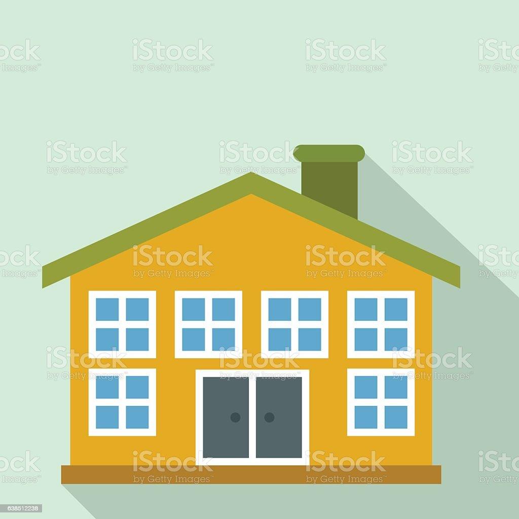 yellow twostorey house flat icon stock vector art 638512238 istock