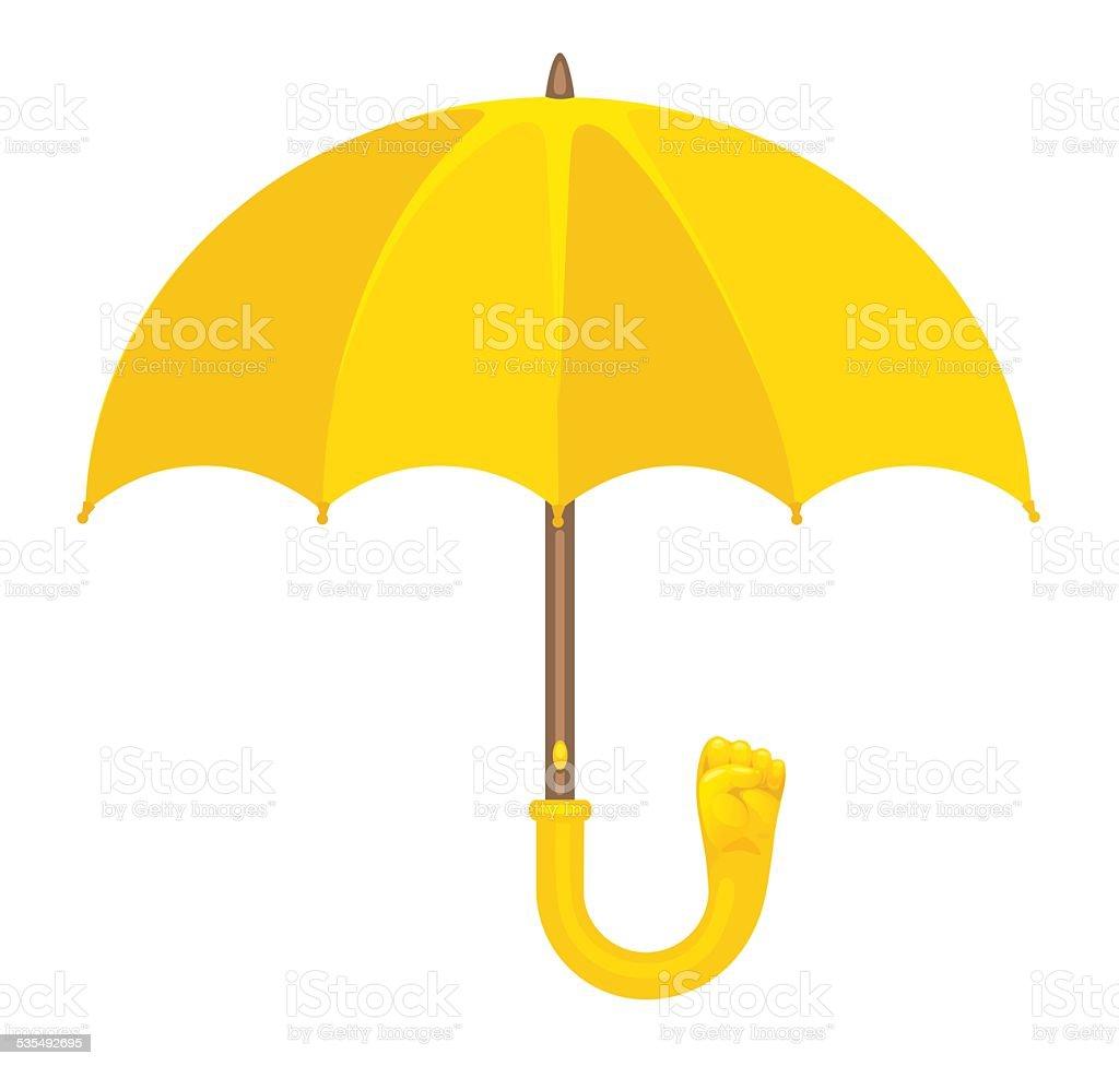 Yellow Umbrella with Fist vector art illustration