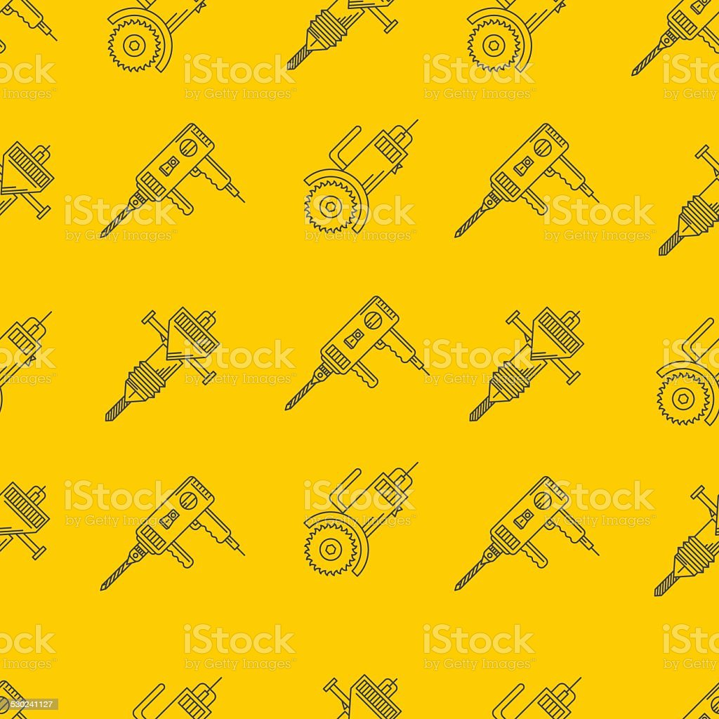 Yellow vector background for construction tools vector art illustration