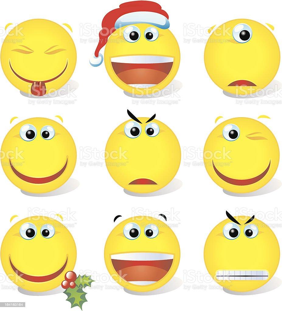 yellow vector smiley set  002 royalty-free stock vector art