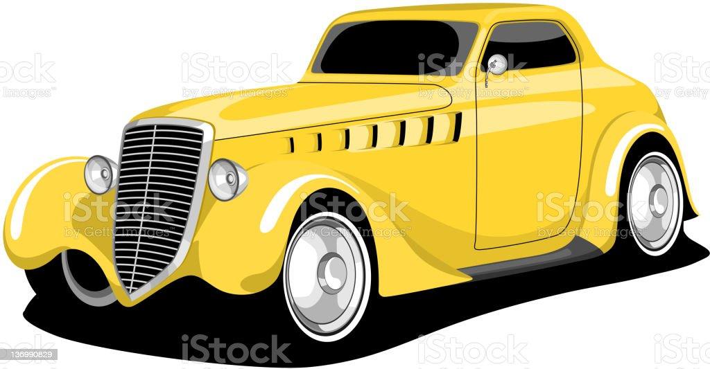 Yellow Vintage Car . vector art illustration