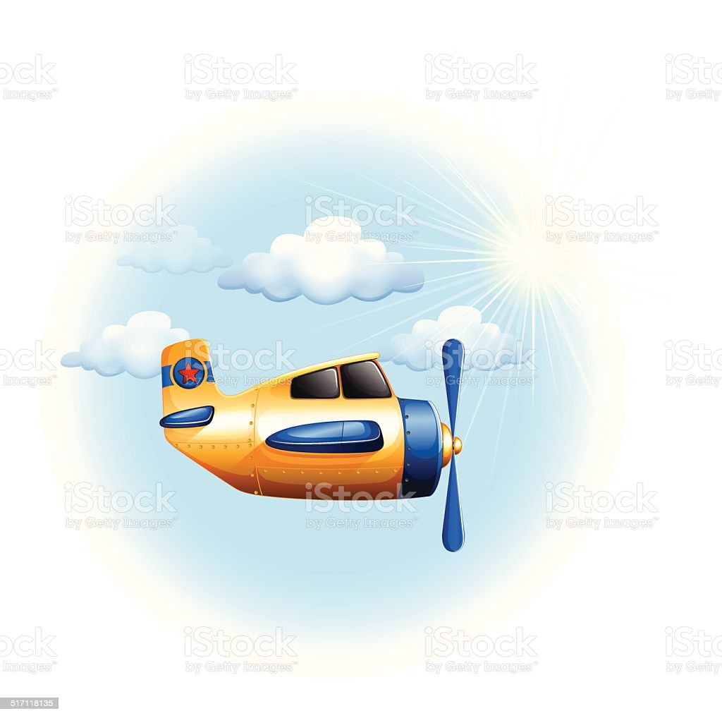 Yellow vintage plane in the sky vector art illustration