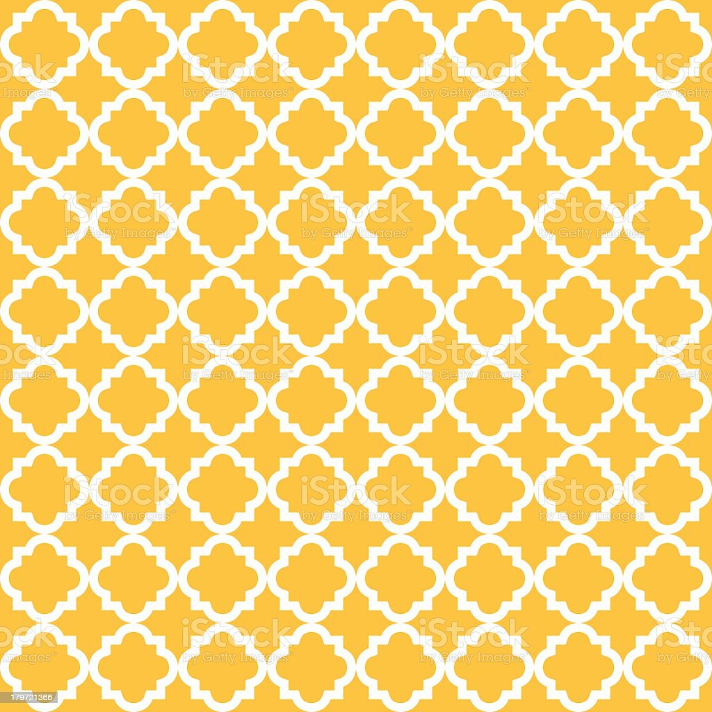 Yellow vintage seamless pattern background with white line vector art illustration