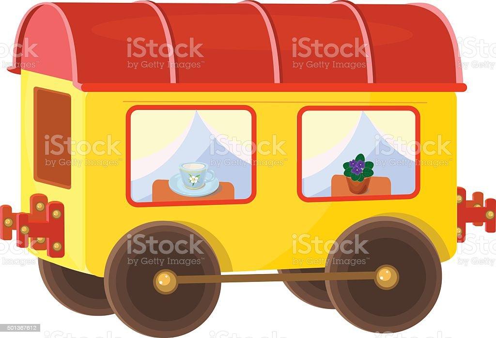 yellow wagon vector art illustration