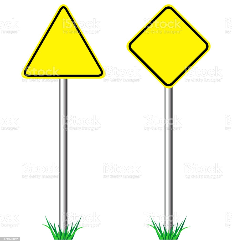 Yellow warning information road signs with grass isolated vector art illustration