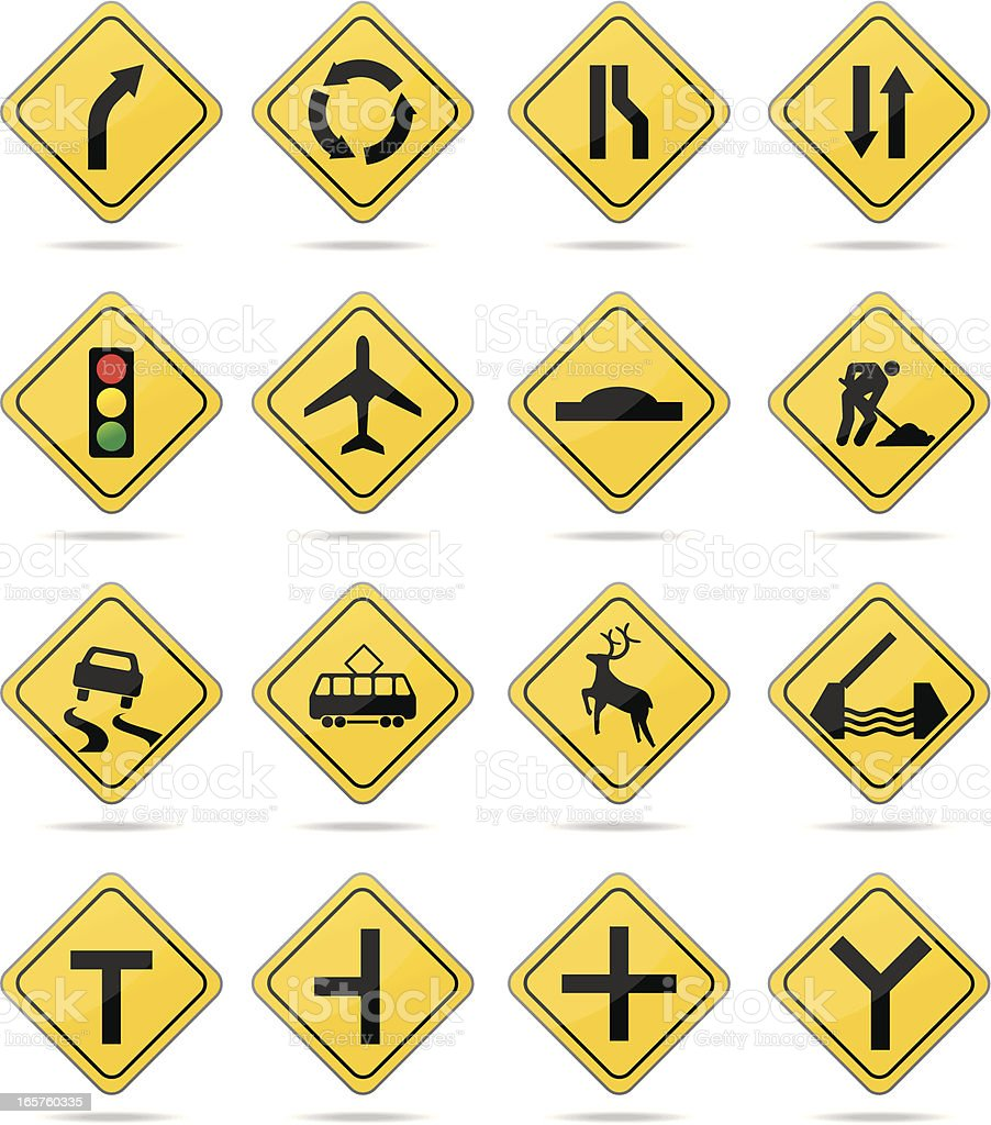Yellow warning road signs royalty-free stock vector art