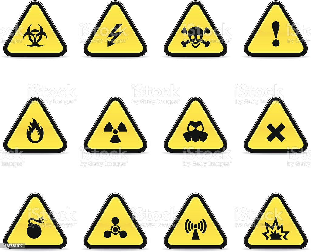 Yellow warning signs on white background vector art illustration