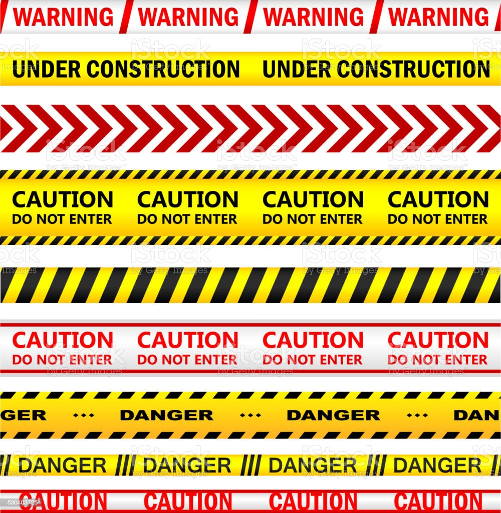 Yellow warning tapes with texts vector art illustration