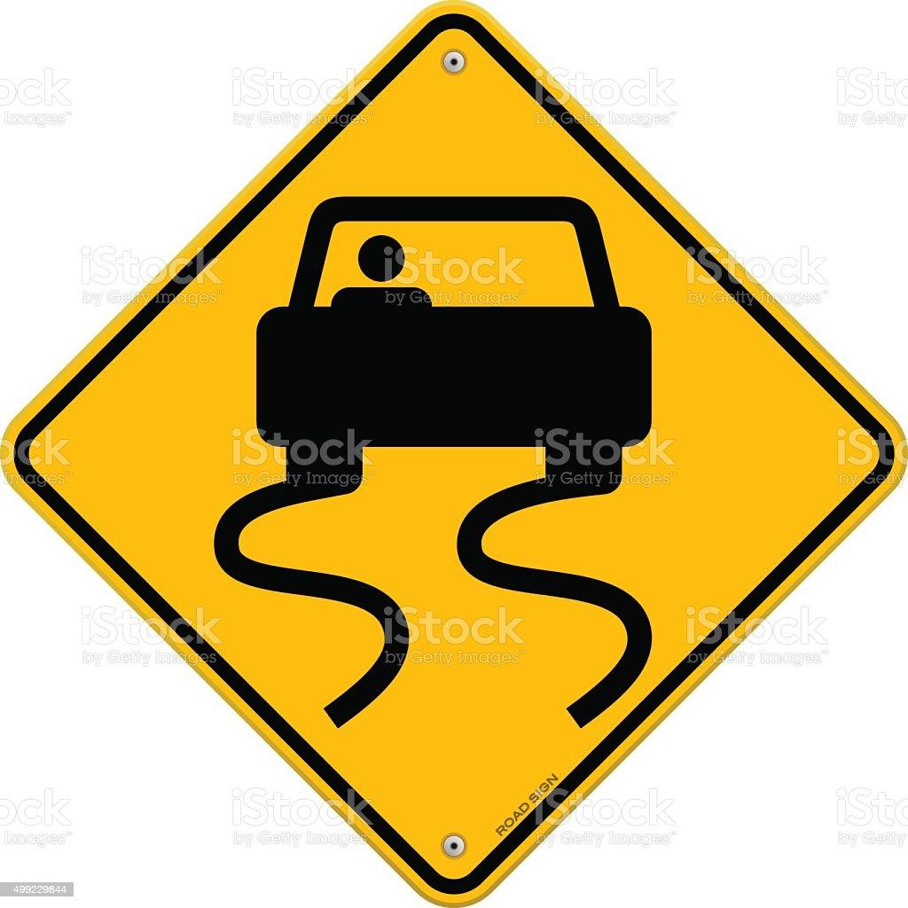 Yellow Wet Road Sign vector art illustration