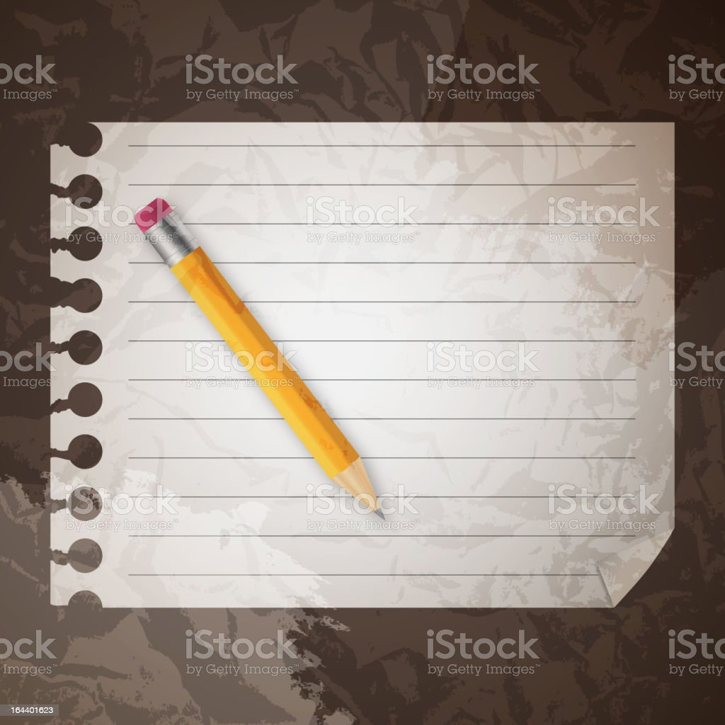 Yellow wooden pencil on a blank notepad vector illustration royalty-free stock vector art
