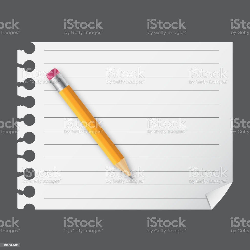 Yellow wooden pencil on the blank notepad vector illustration royalty-free stock vector art