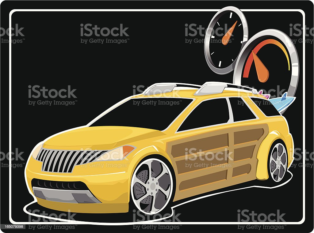 Yellow Woody Concept Car royalty-free stock vector art