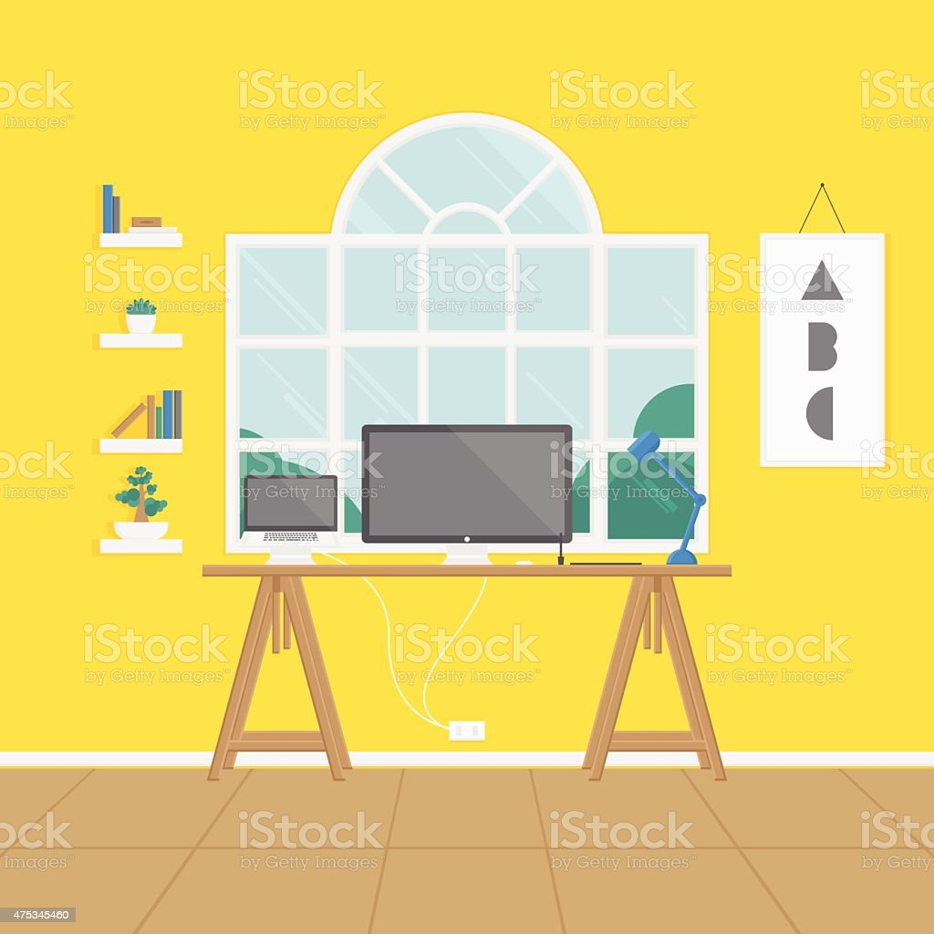 yellow work space vector art illustration