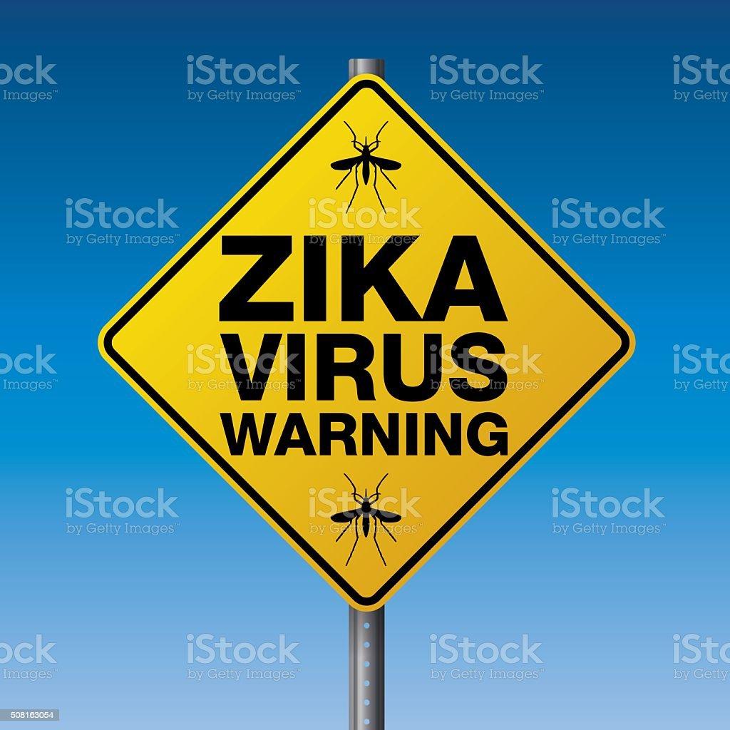 Yellow Zika Virus Warning Sign Illustration vector art illustration
