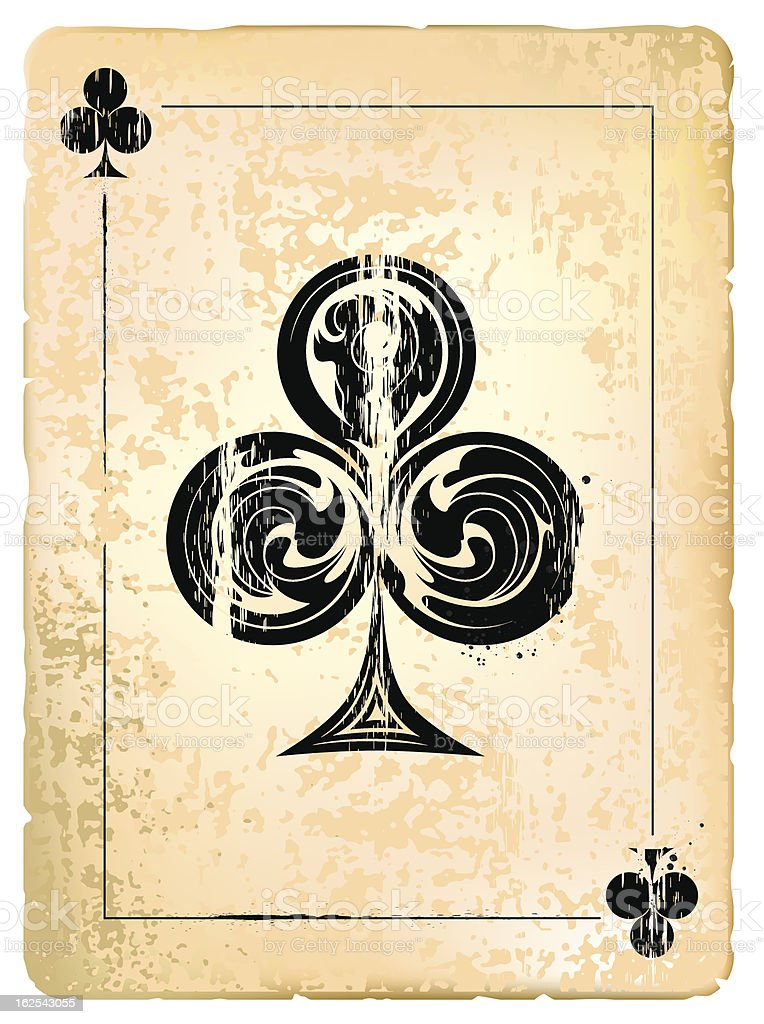 Yellowed old ace of clubs card royalty-free stock vector art