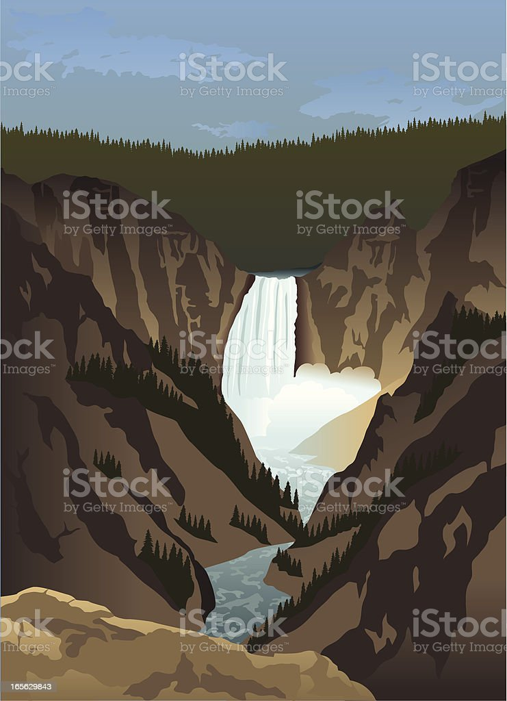 Yellowstone Falls royalty-free stock vector art