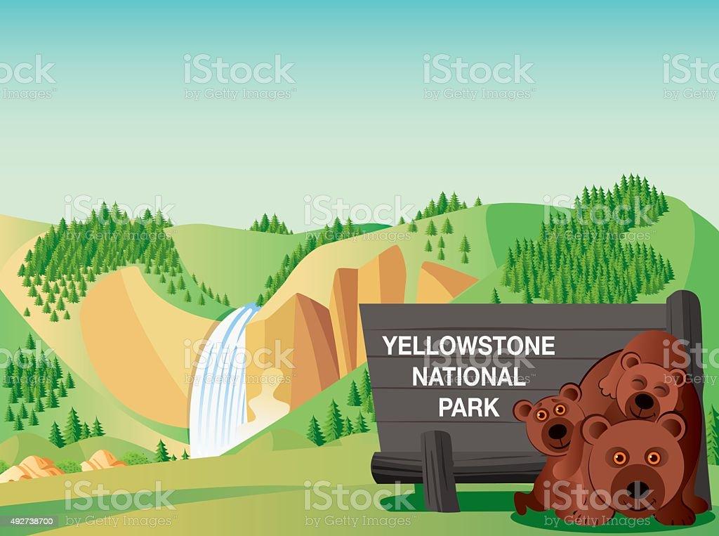 Yellowstone National Park vector art illustration