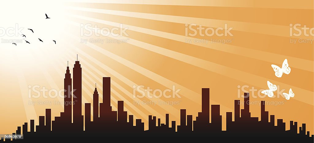 yelow City Skyline with birds silhouette royalty-free stock vector art