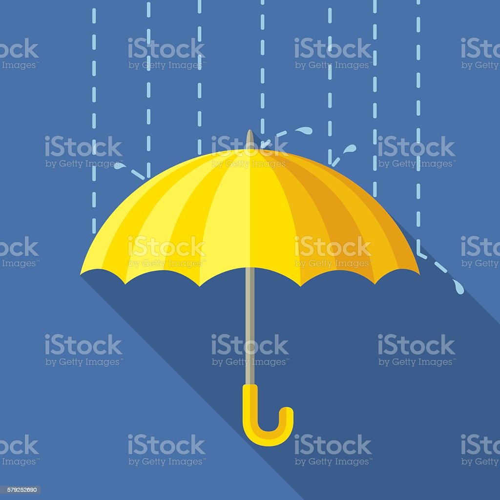 Yelow Umbrella vector art illustration