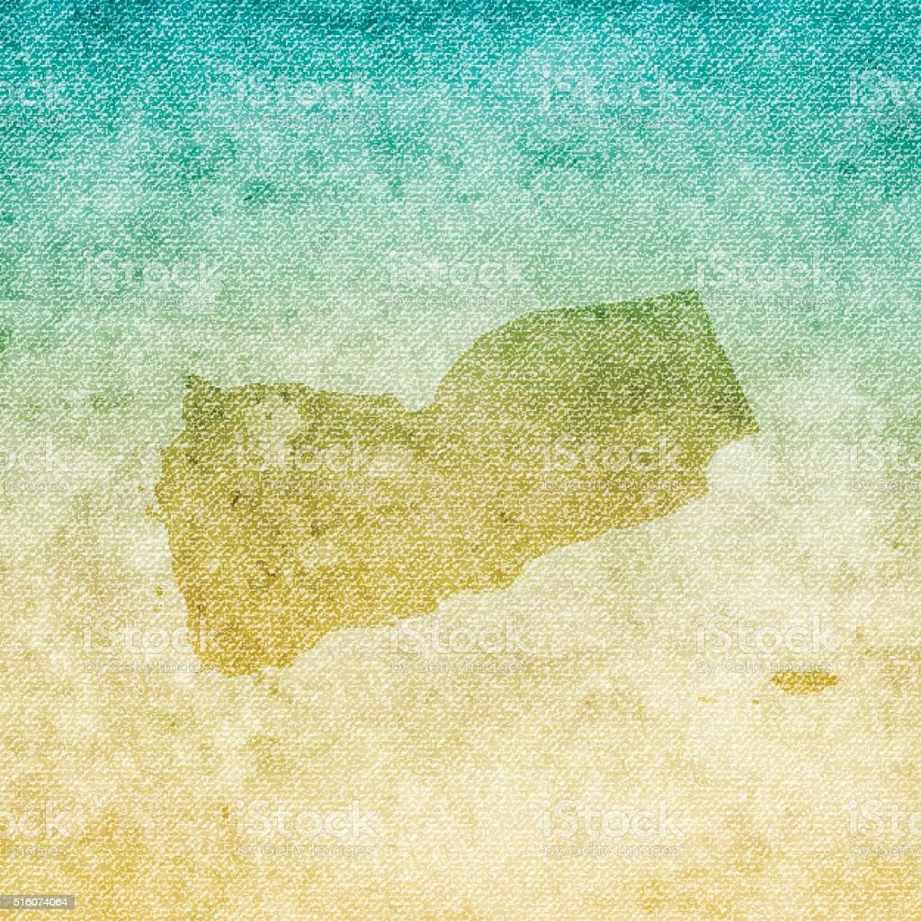 Yemen Map on grunge Canvas Background vector art illustration