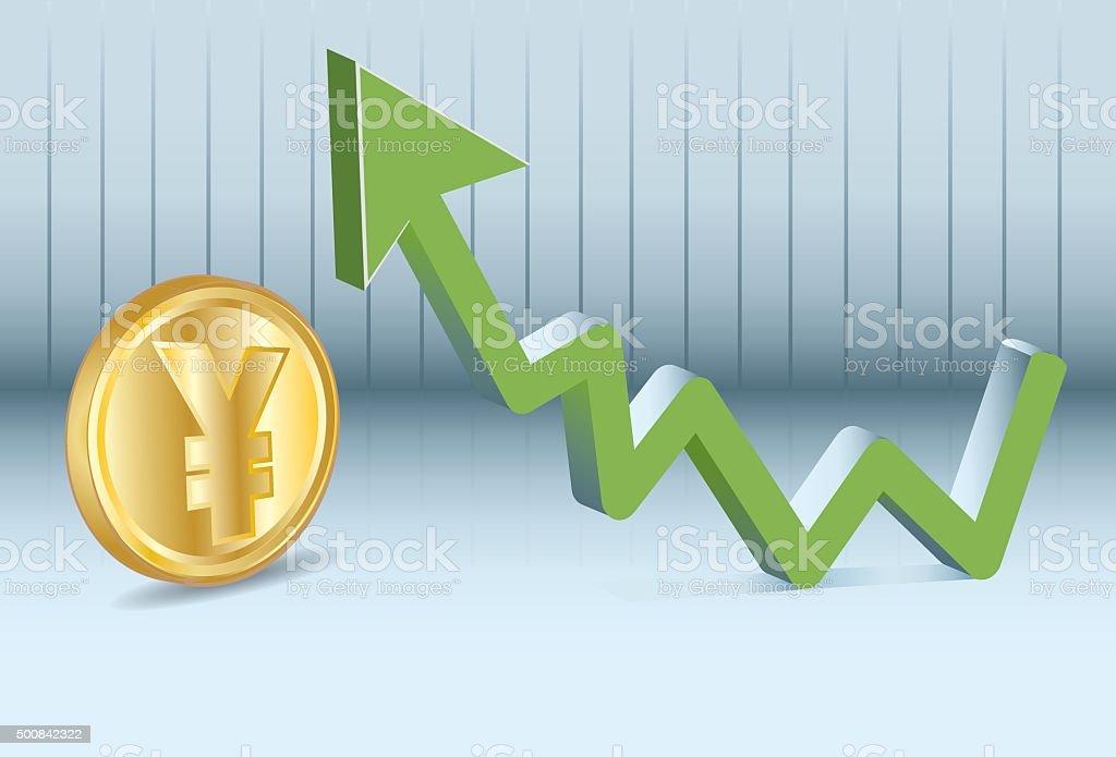 Yen is going up vector art illustration