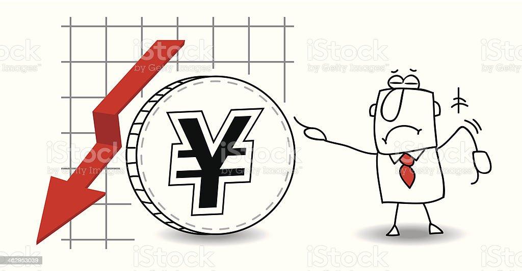 Yen is growing down royalty-free stock vector art
