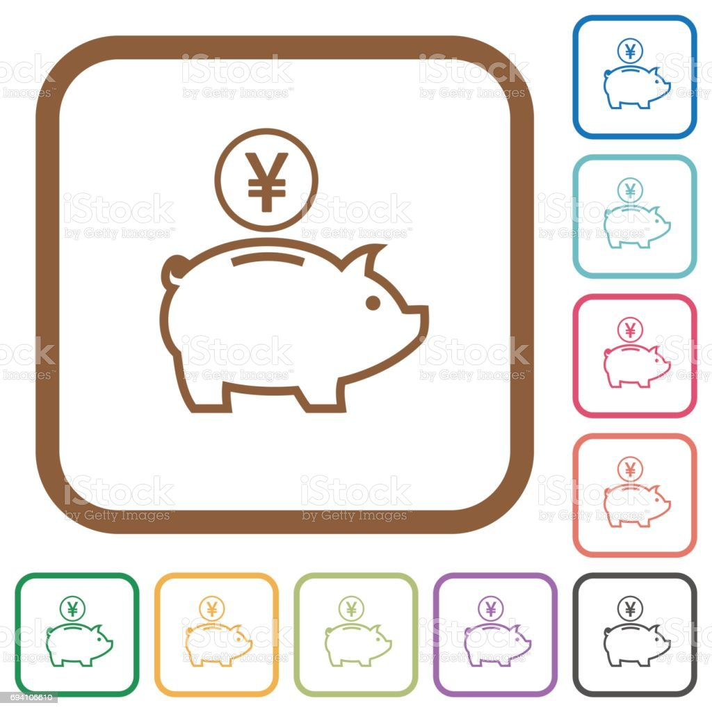 yen piggy bank simple icons stock vector art 694106610 istock