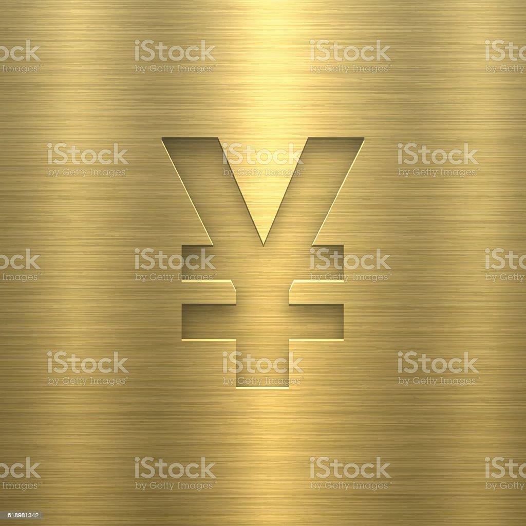 Yen Symbol ¥ - Symbol on Gold Metal Texture vector art illustration
