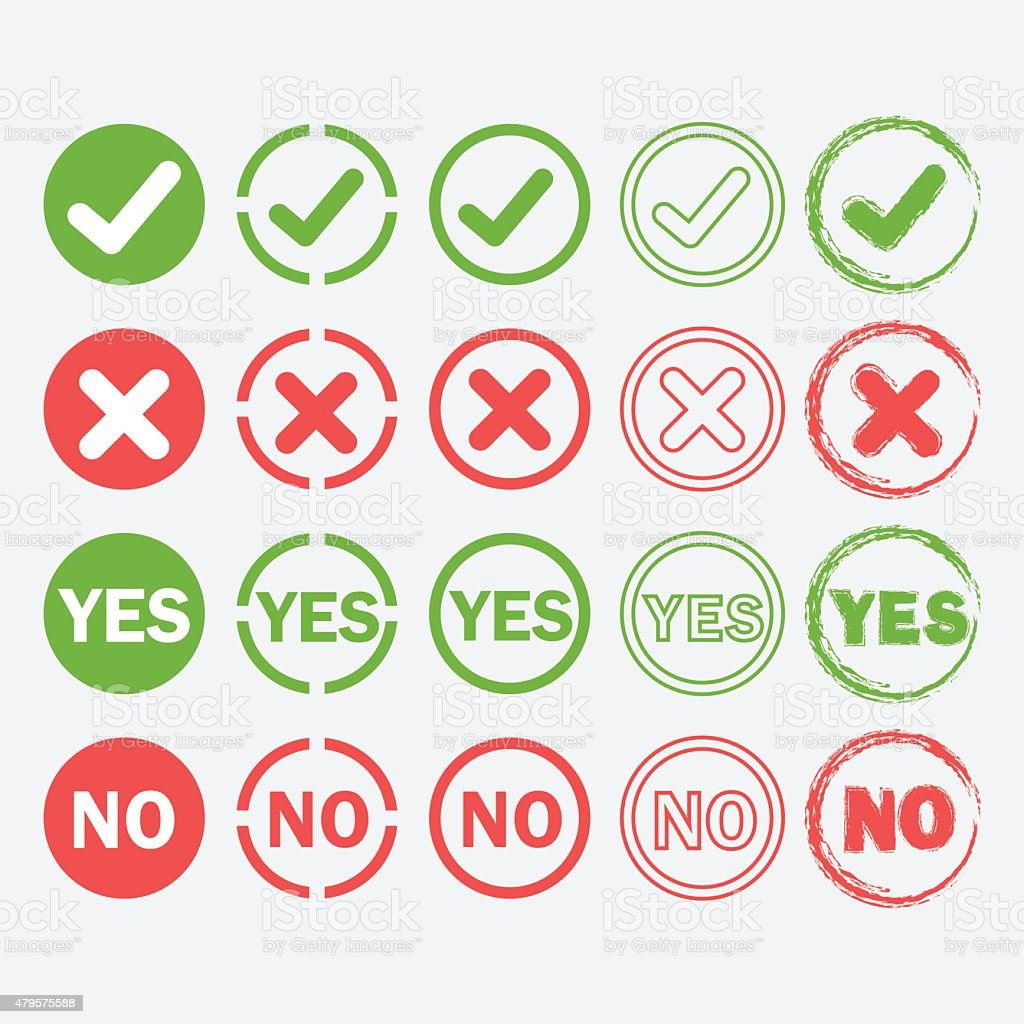 Yes and No circle icons in silhouette and outline styles set vector art illustration