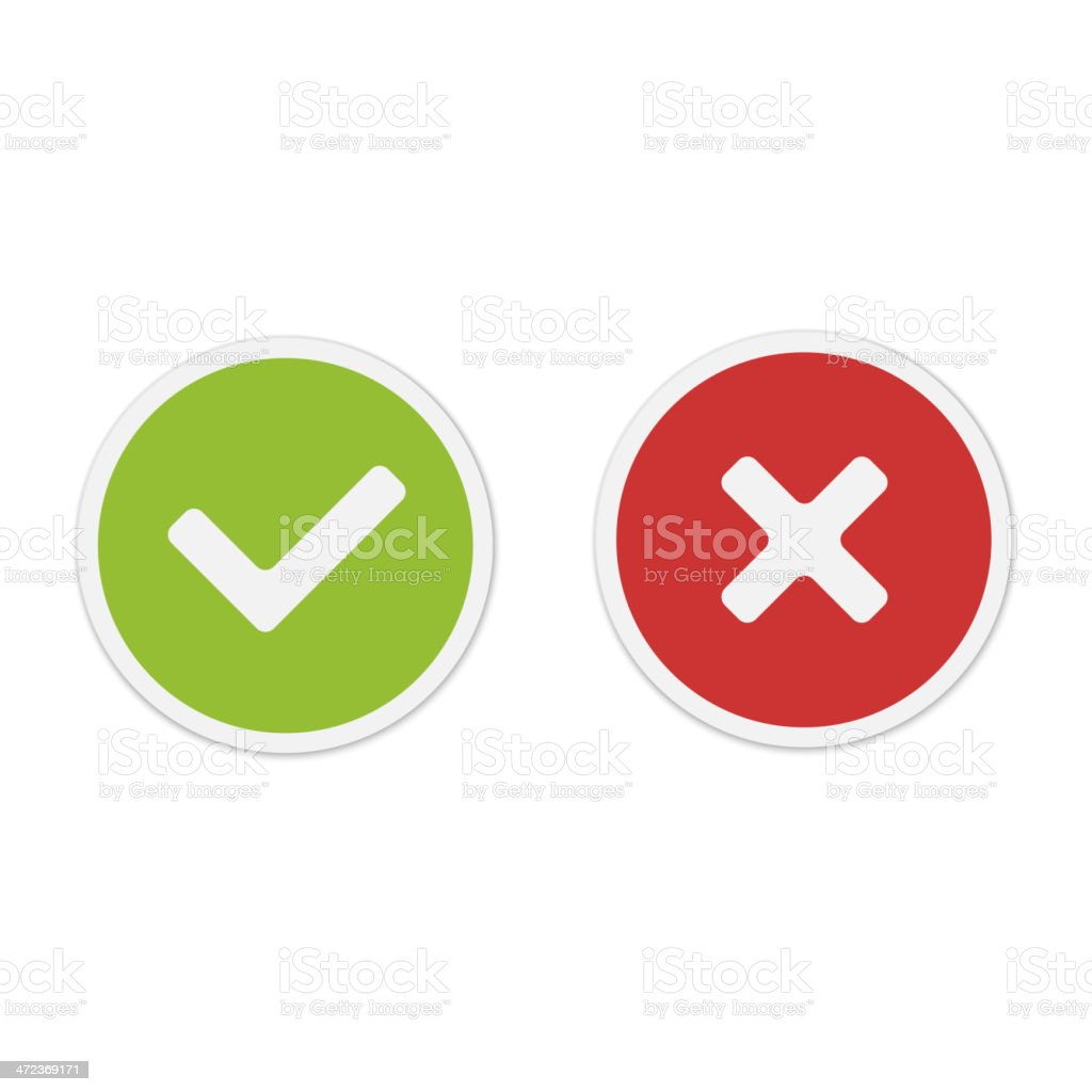 Yes and No icons. Vector. vector art illustration