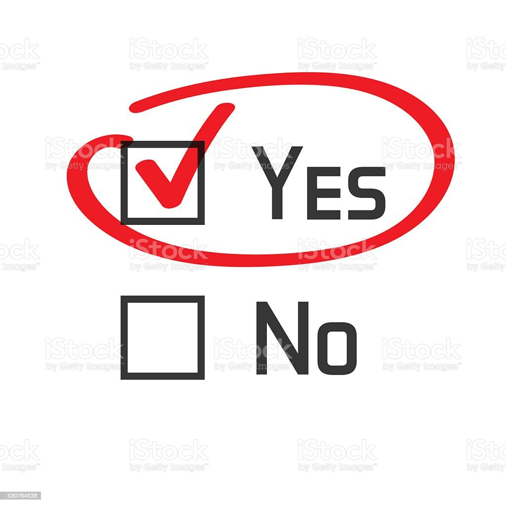 Yes no checked with red marker line vector art illustration