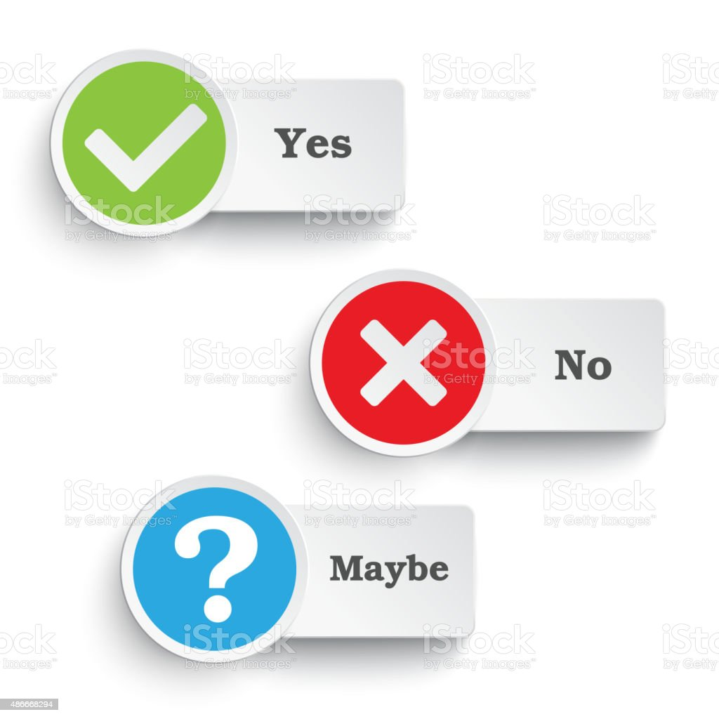 Yes No Maybe Round Icons PiAd vector art illustration