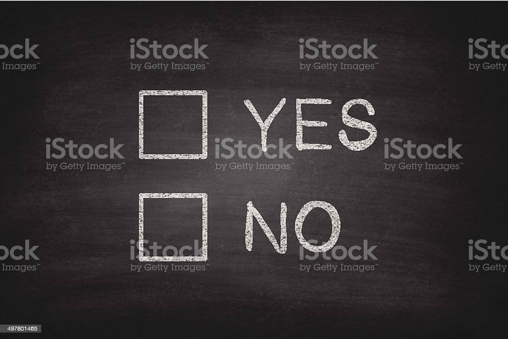 Yes or No Checkboxes on Blackboard - Chalkboard royalty-free stock vector art